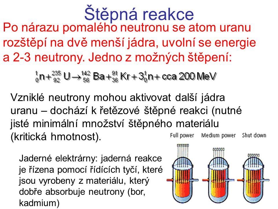 Štěpná reakce Po nárazu pomalého neutronu se atom uranu rozštěpí na dvě menší jádra, uvolní se energie a 2-3 neutrony. Jedno z možných štěpení: