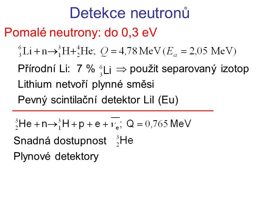 Detekce neutronů Pomalé neutrony: do 0,3 eV