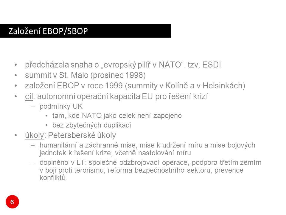 """Založení EBOP/SBOP předcházela snaha o """"evropský pilíř v NATO , tzv. ESDI. summit v St. Malo (prosinec 1998)"""