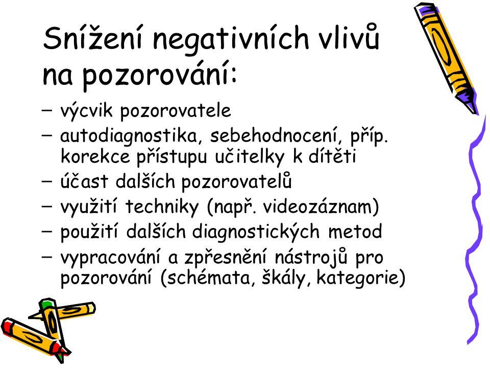 Snížení negativních vlivů na pozorování: