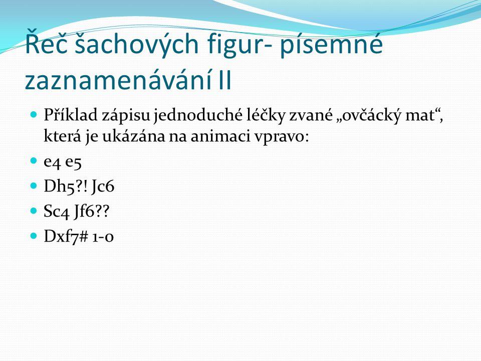 Řeč šachových figur- písemné zaznamenávání II