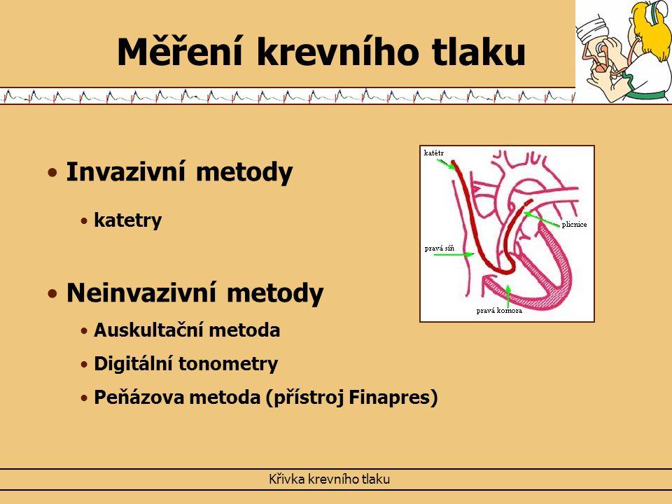 Měření krevního tlaku Invazivní metody Neinvazivní metody katetry