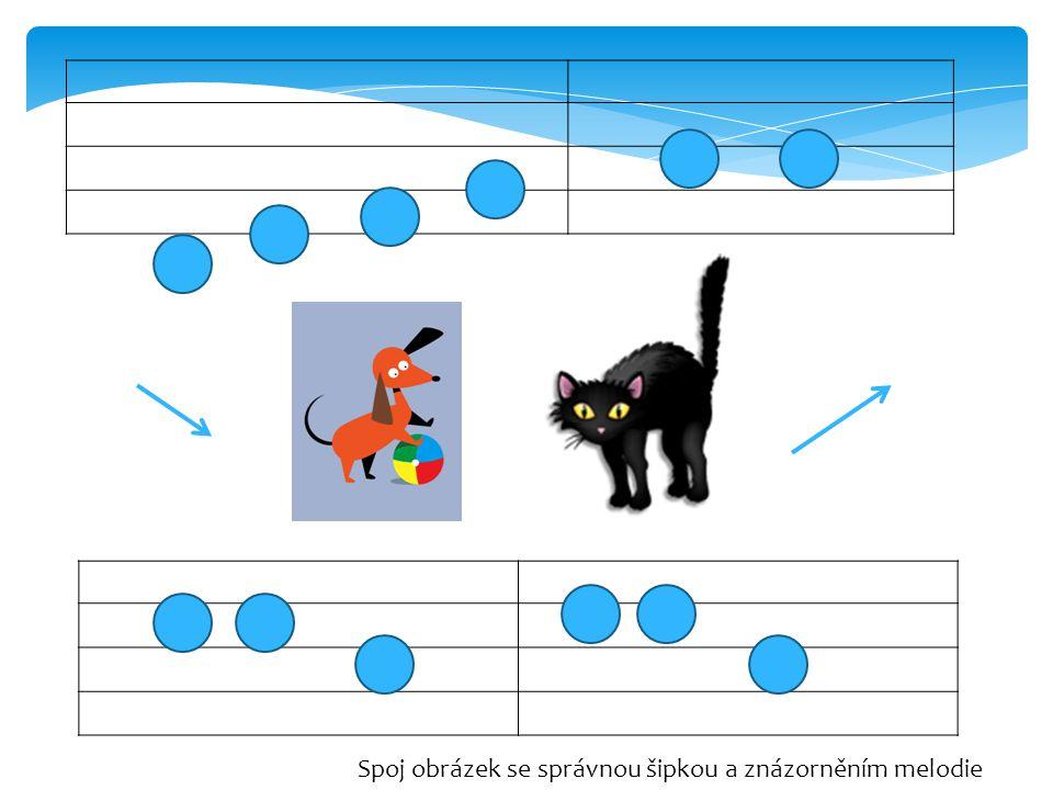 Spoj obrázek se správnou šipkou a znázorněním melodie