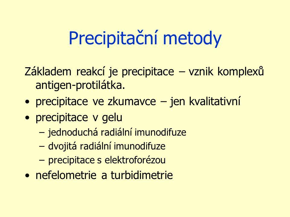 Precipitační metody Základem reakcí je precipitace – vznik komplexů antigen-protilátka. precipitace ve zkumavce – jen kvalitativní.