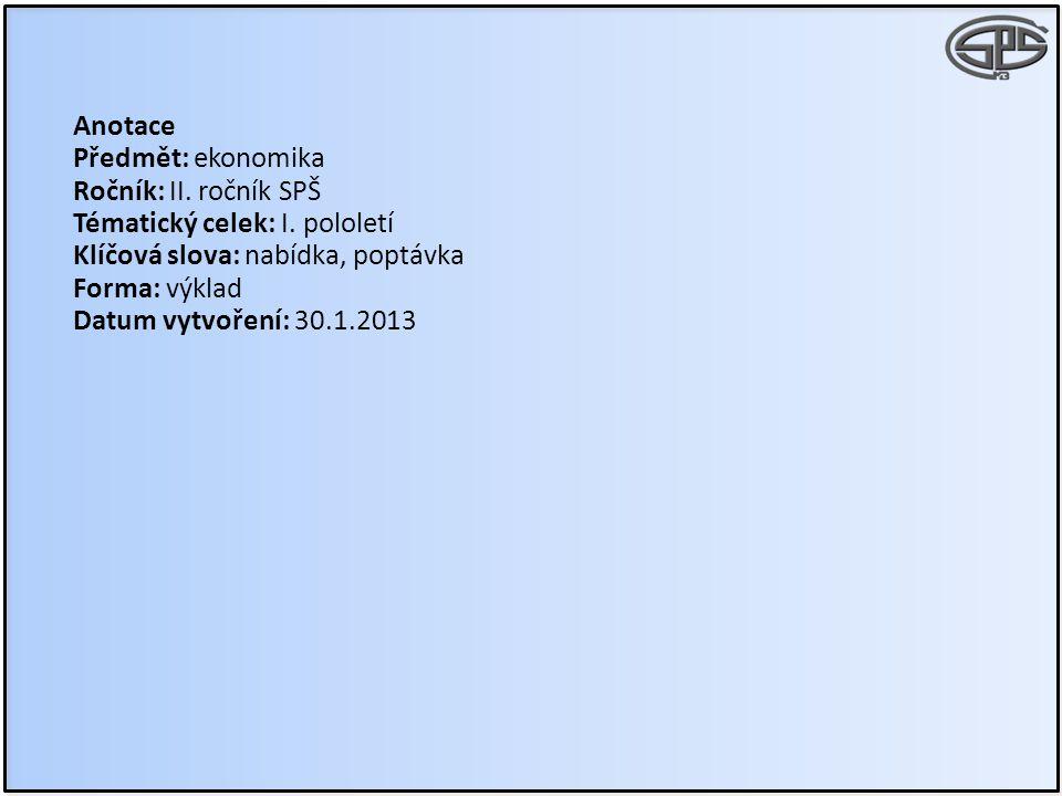 Anotace Předmět: ekonomika. Ročník: II. ročník SPŠ. Tématický celek: I. pololetí. Klíčová slova: nabídka, poptávka.