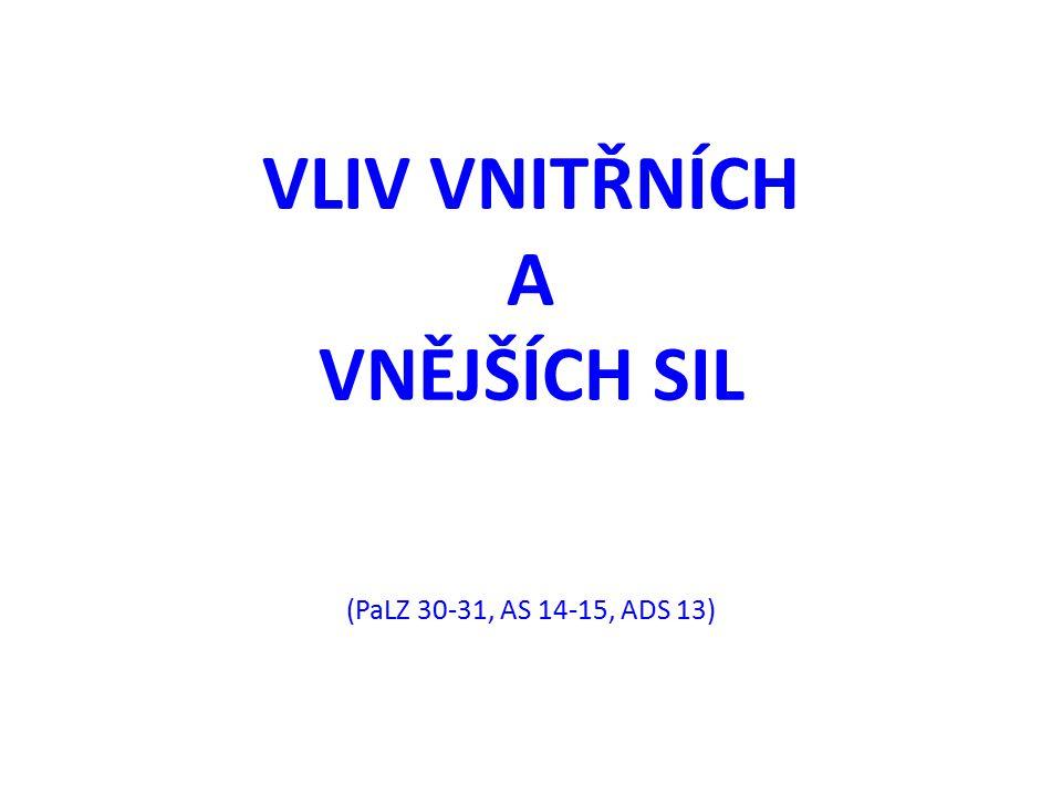 VLIV VNITŘNÍCH A VNĚJŠÍCH SIL (PaLZ 30-31, AS 14-15, ADS 13)