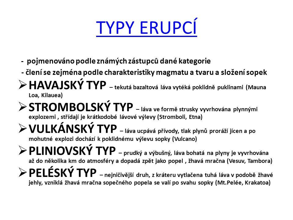 TYPY ERUPCÍ - pojmenováno podle známých zástupců dané kategorie