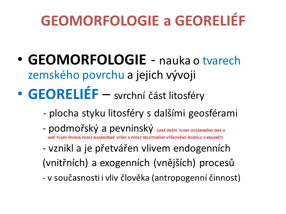 GEOMORFOLOGIE a GEORELIÉF