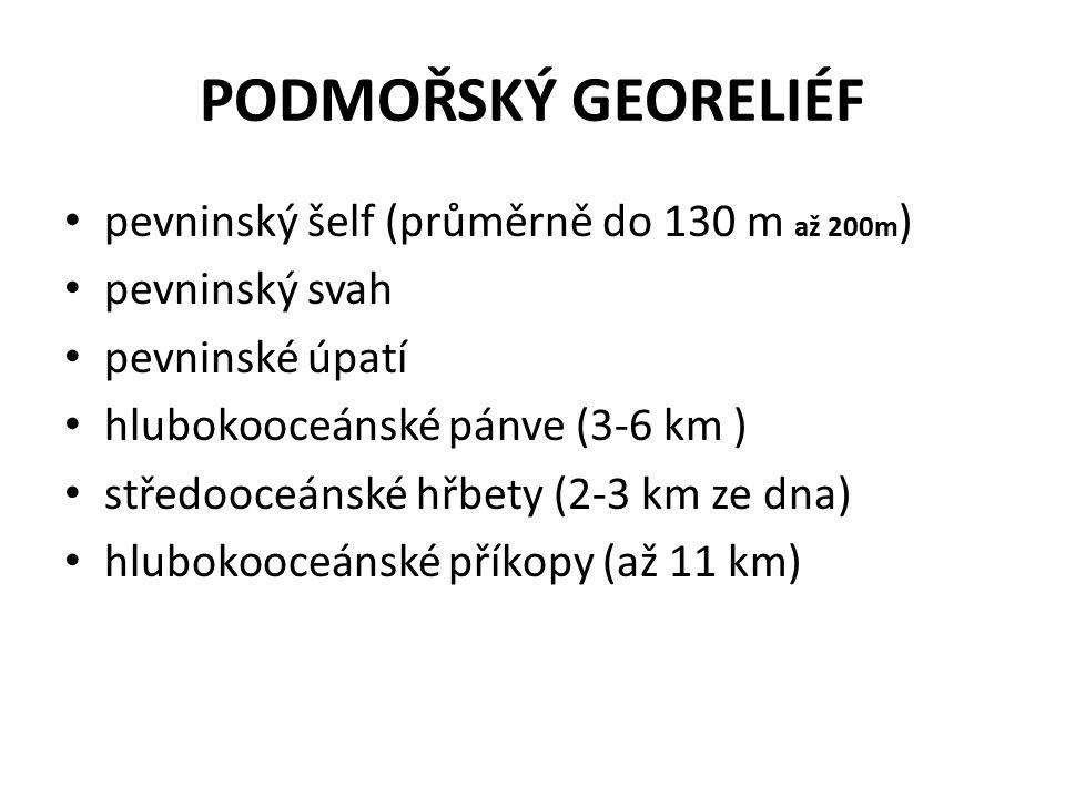 PODMOŘSKÝ GEORELIÉF pevninský šelf (průměrně do 130 m až 200m)
