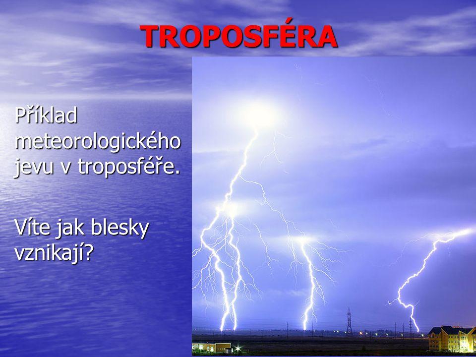 TROPOSFÉRA Příklad meteorologického jevu v troposféře. Víte jak blesky vznikají
