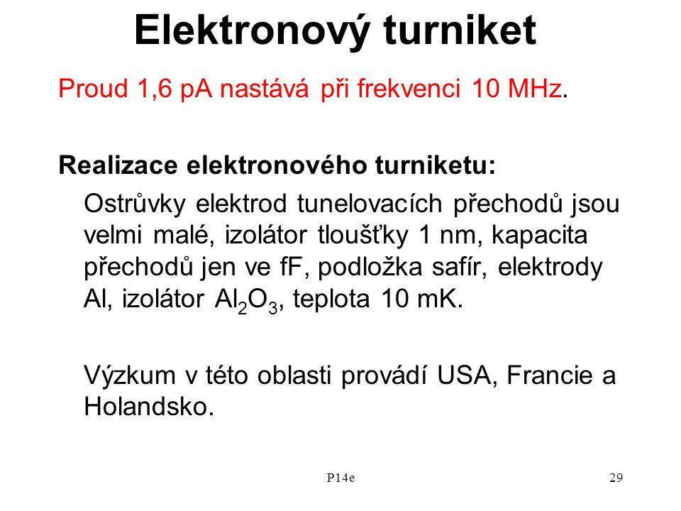Elektronový turniket Proud 1,6 pA nastává při frekvenci 10 MHz.