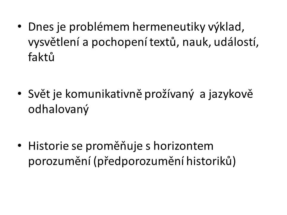 Dnes je problémem hermeneutiky výklad, vysvětlení a pochopení textů, nauk, událostí, faktů