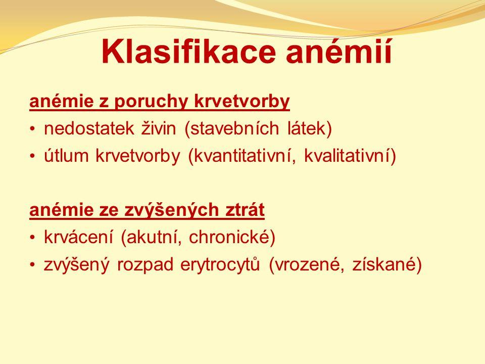Klasifikace anémií anémie z poruchy krvetvorby