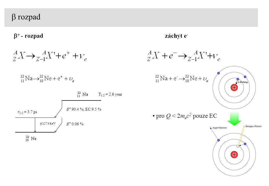 b rozpad b+ - rozpad záchyt e- pro Q < 2mec2 pouze EC