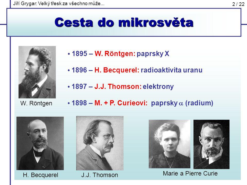 Cesta do mikrosvěta • 1895 – W. Röntgen: paprsky X