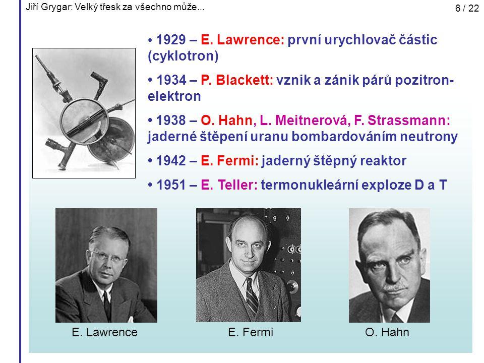 • 1929 – E. Lawrence: první urychlovač částic (cyklotron)