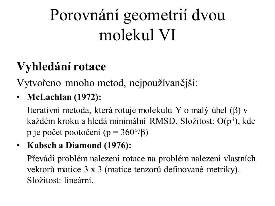 Porovnání geometrií dvou molekul VI