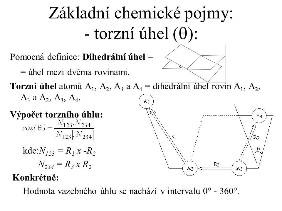 Základní chemické pojmy: - torzní úhel (q):