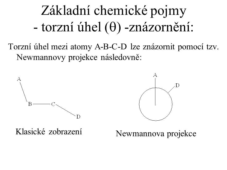Základní chemické pojmy - torzní úhel (q) -znázornění:
