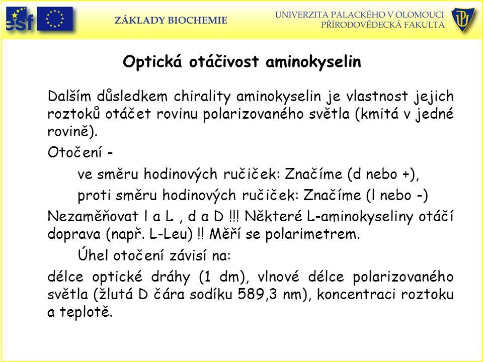 Optická otáčivost aminokyselin