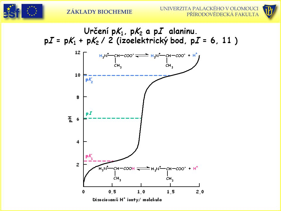 Určení pK1, pK2 a pI alaninu