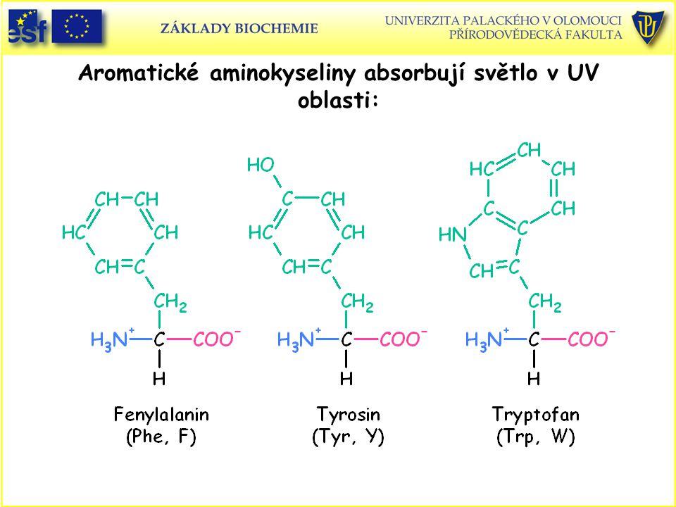 Aromatické aminokyseliny absorbují světlo v UV oblasti: