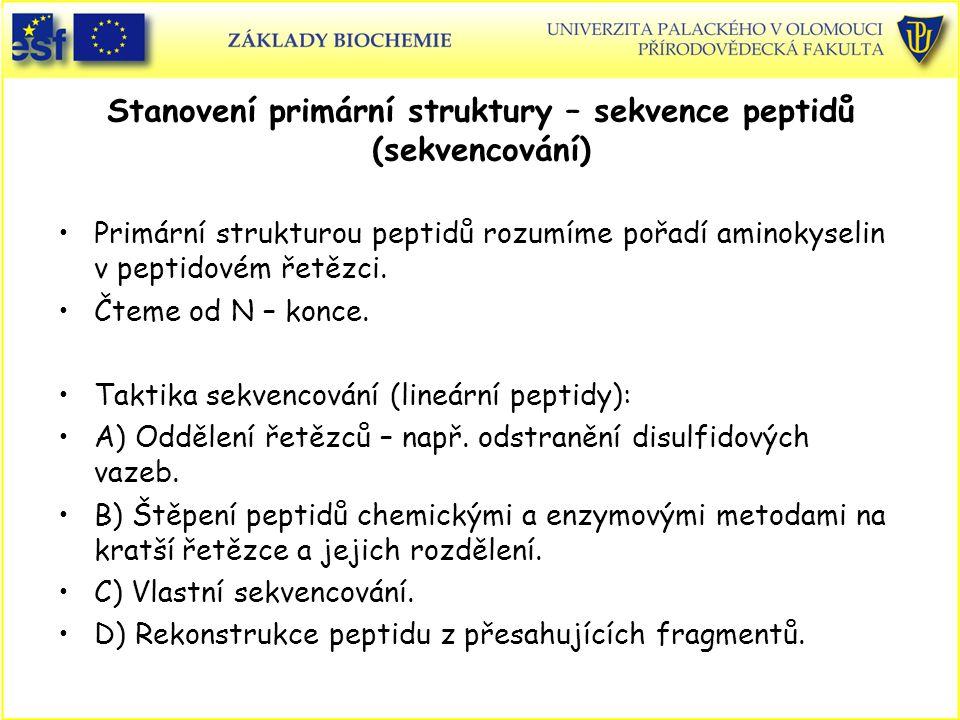 Stanovení primární struktury – sekvence peptidů (sekvencování)