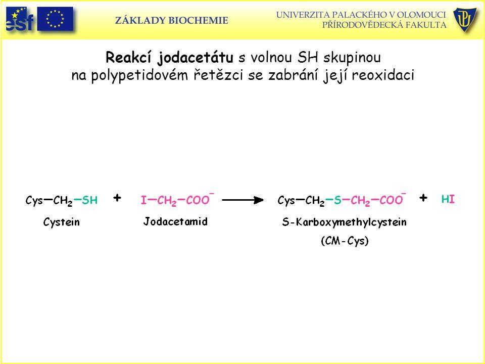 Reakcí jodacetátu s volnou SH skupinou na polypetidovém řetězci se zabrání její reoxidaci