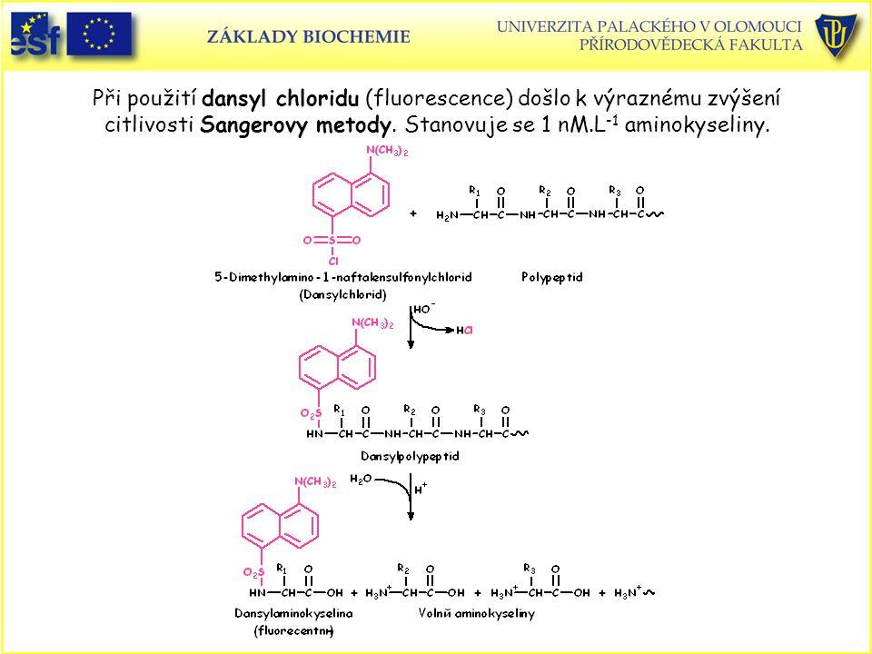 Při použití dansyl chloridu (fluorescence) došlo k výraznému zvýšení citlivosti Sangerovy metody. Stanovuje se 1 nM.L-1 aminokyseliny.