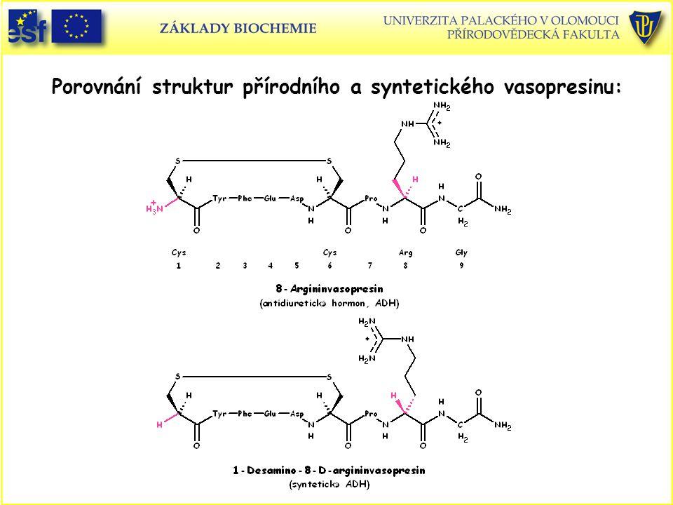 Porovnání struktur přírodního a syntetického vasopresinu: