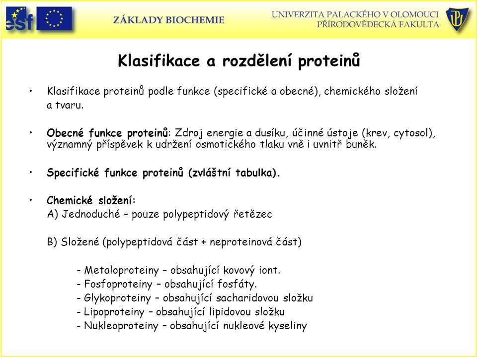 Klasifikace a rozdělení proteinů