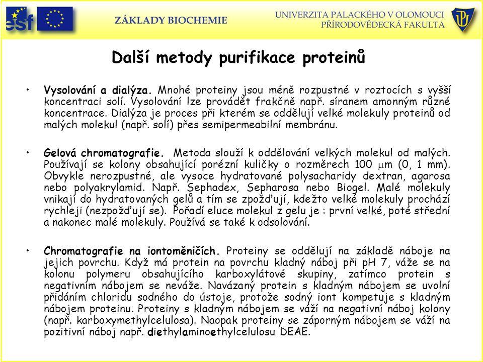 Další metody purifikace proteinů