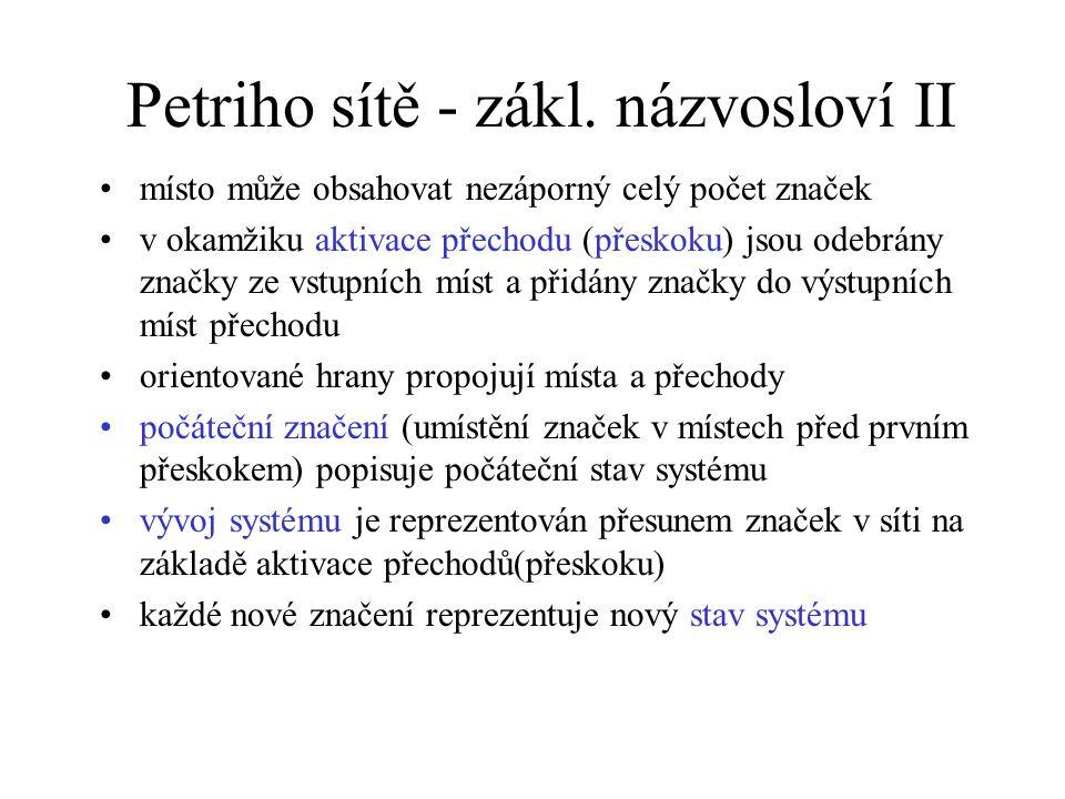 Petriho sítě - zákl. názvosloví II