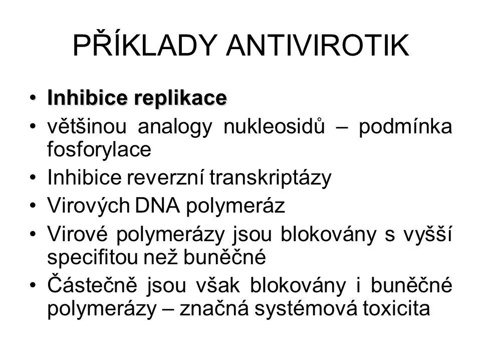 PŘÍKLADY ANTIVIROTIK Inhibice replikace