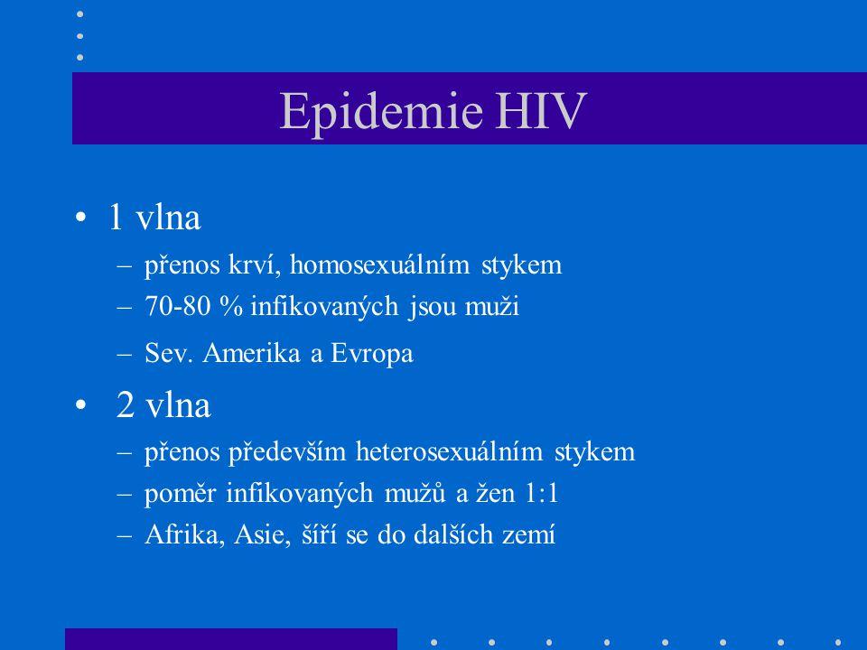 Epidemie HIV 1 vlna 2 vlna přenos krví, homosexuálním stykem