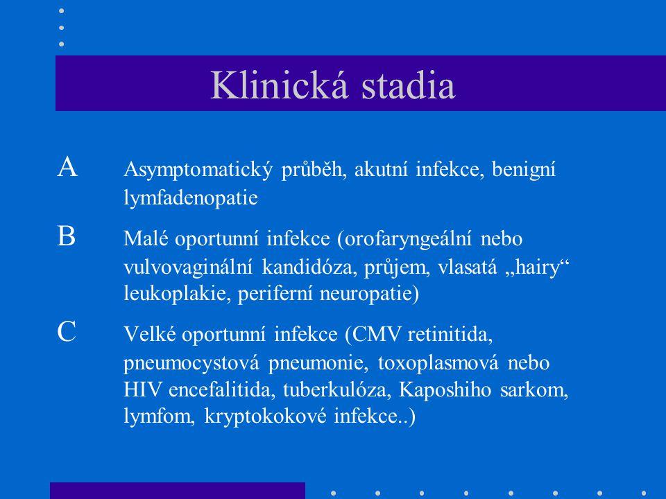 Klinická stadia A Asymptomatický průběh, akutní infekce, benigní lymfadenopatie.