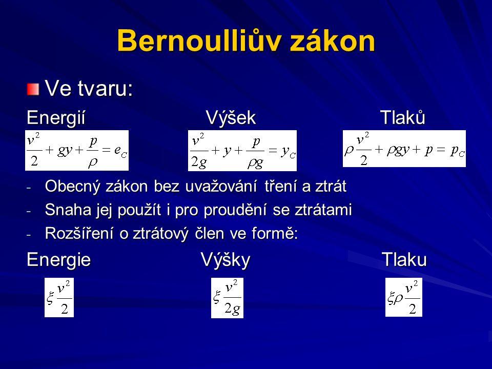 Bernoulliův zákon Ve tvaru: Energií Výšek Tlaků Energie Výšky Tlaku