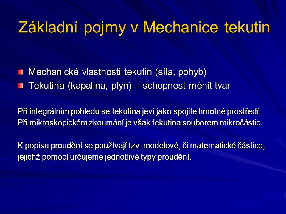 Základní pojmy v Mechanice tekutin