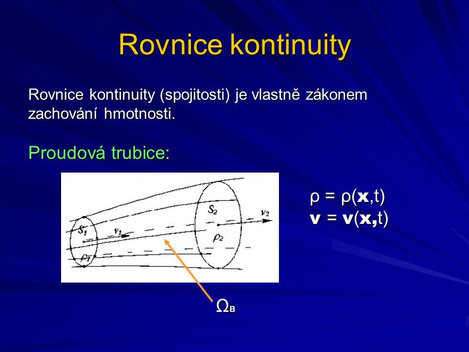 Rovnice kontinuity Proudová trubice: ρ = ρ(x,t) v = v(x,t) ΩB
