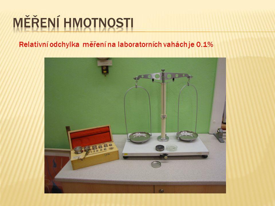 Měření hmotnosti Relativní odchylka měření na laboratorních vahách je 0.1%
