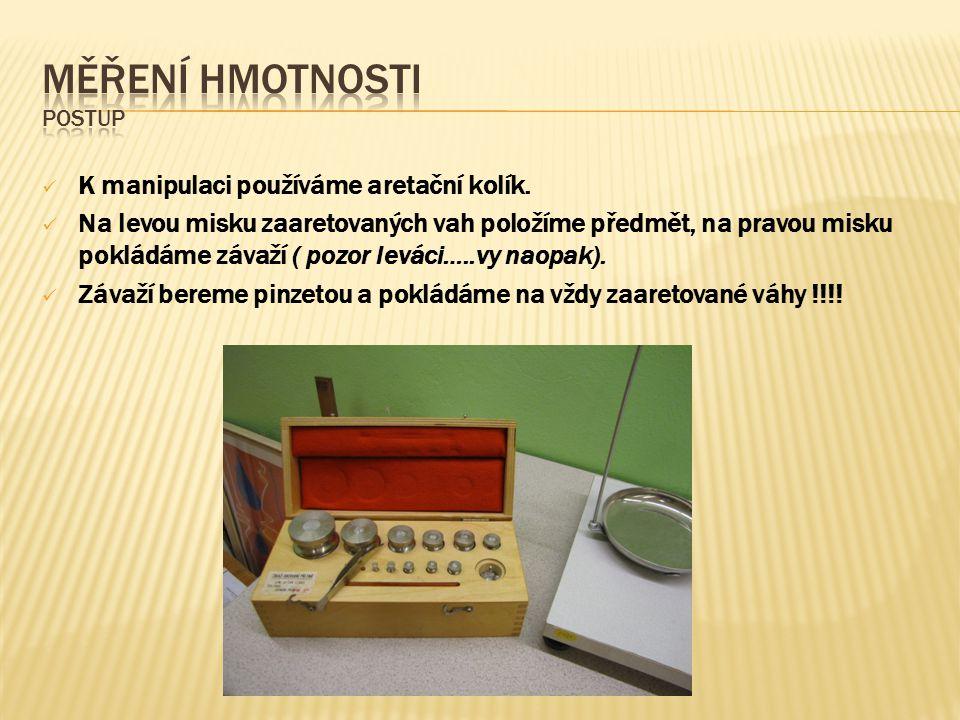 Měření hmotnosti postup