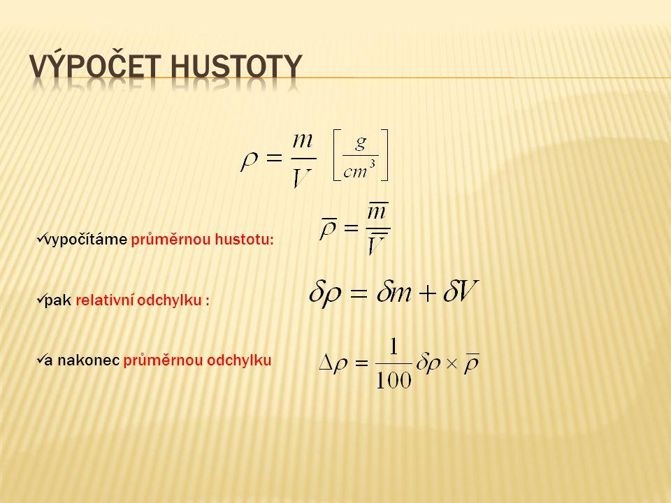 Výpočet hustoty vypočítáme průměrnou hustotu: pak relativní odchylku :