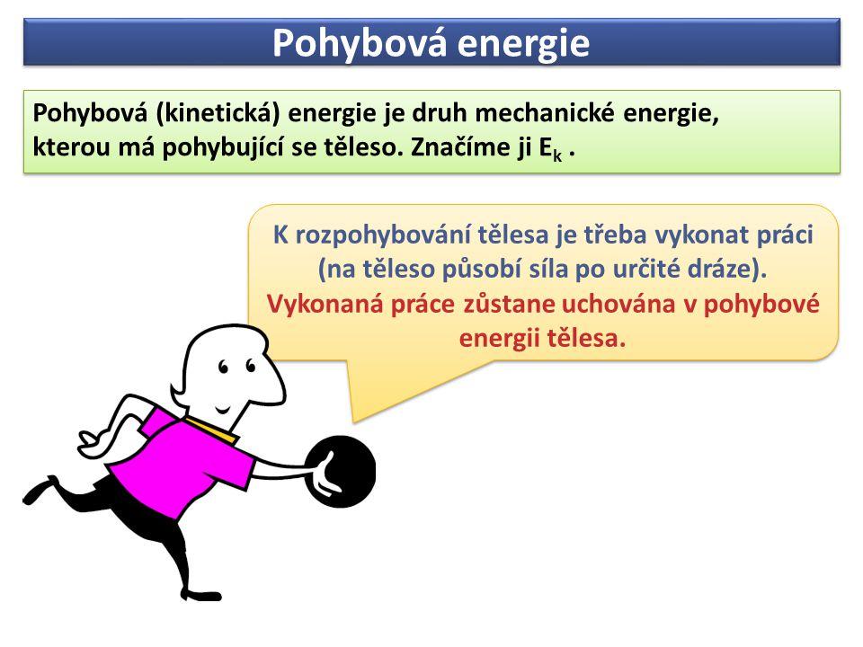 Pohybová energie Pohybová (kinetická) energie je druh mechanické energie, kterou má pohybující se těleso. Značíme ji Ek .