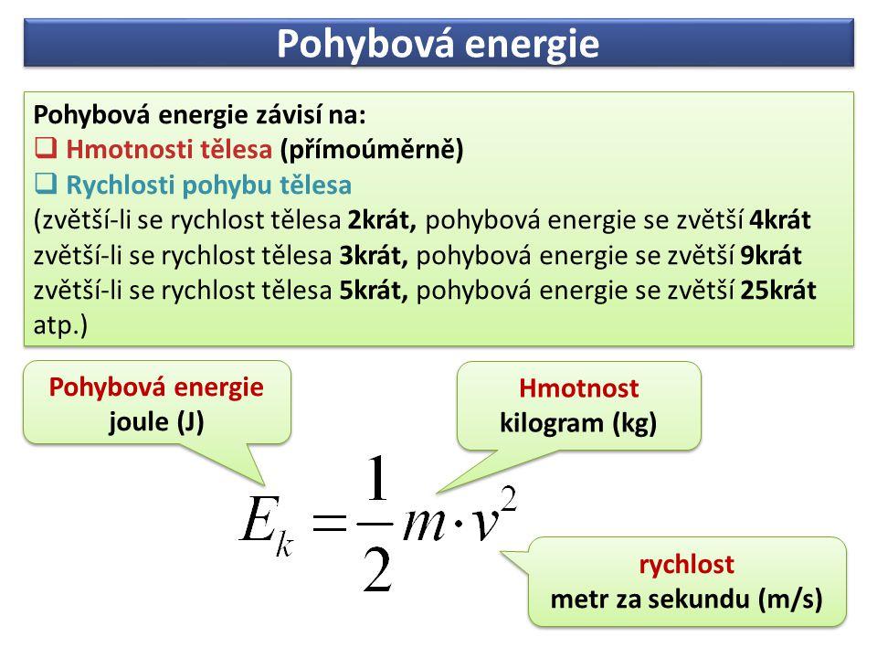 Pohybová energie Pohybová energie závisí na: