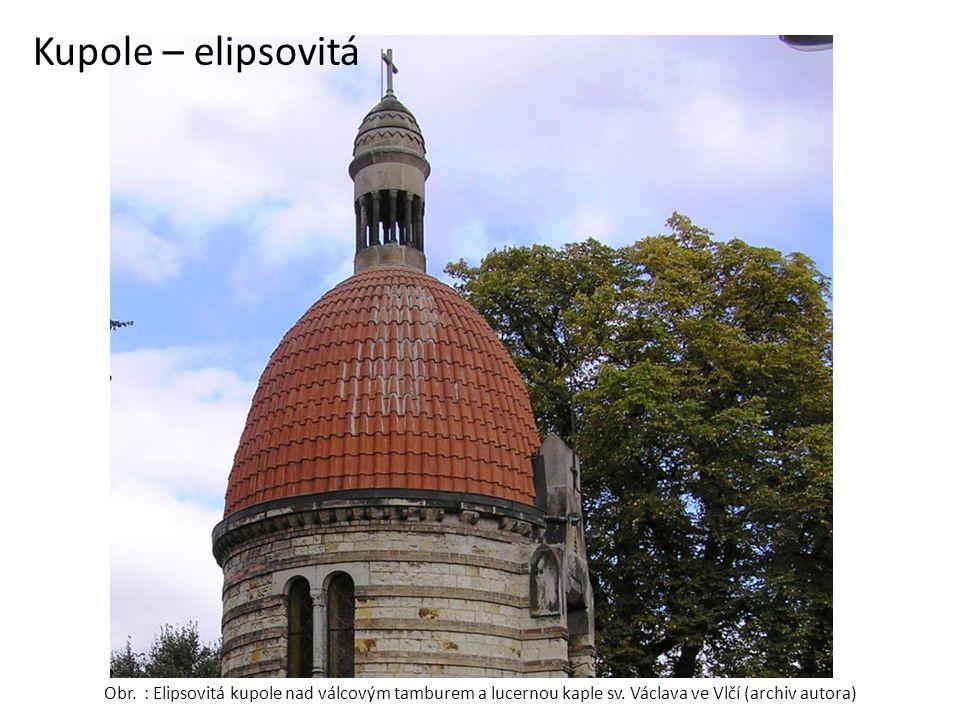 Kupole – elipsovitá Obr. : Elipsovitá kupole nad válcovým tamburem a lucernou kaple sv.