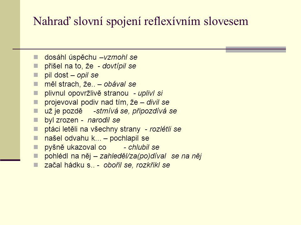 Nahraď slovní spojení reflexívním slovesem