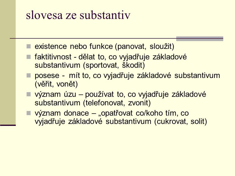 slovesa ze substantiv existence nebo funkce (panovat, sloužit)