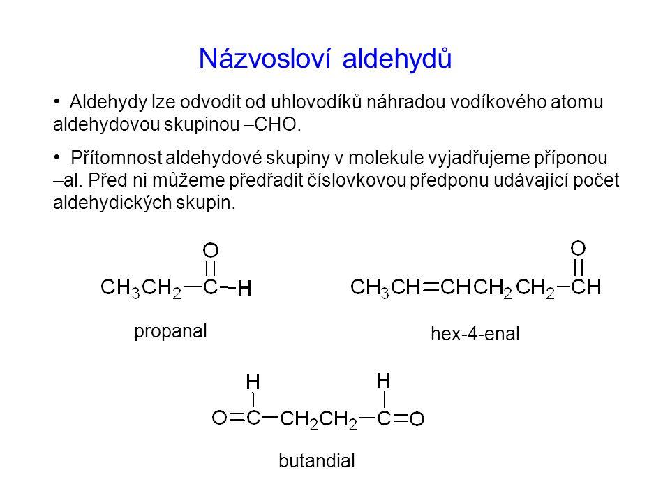 Názvosloví aldehydů Aldehydy lze odvodit od uhlovodíků náhradou vodíkového atomu aldehydovou skupinou –CHO.