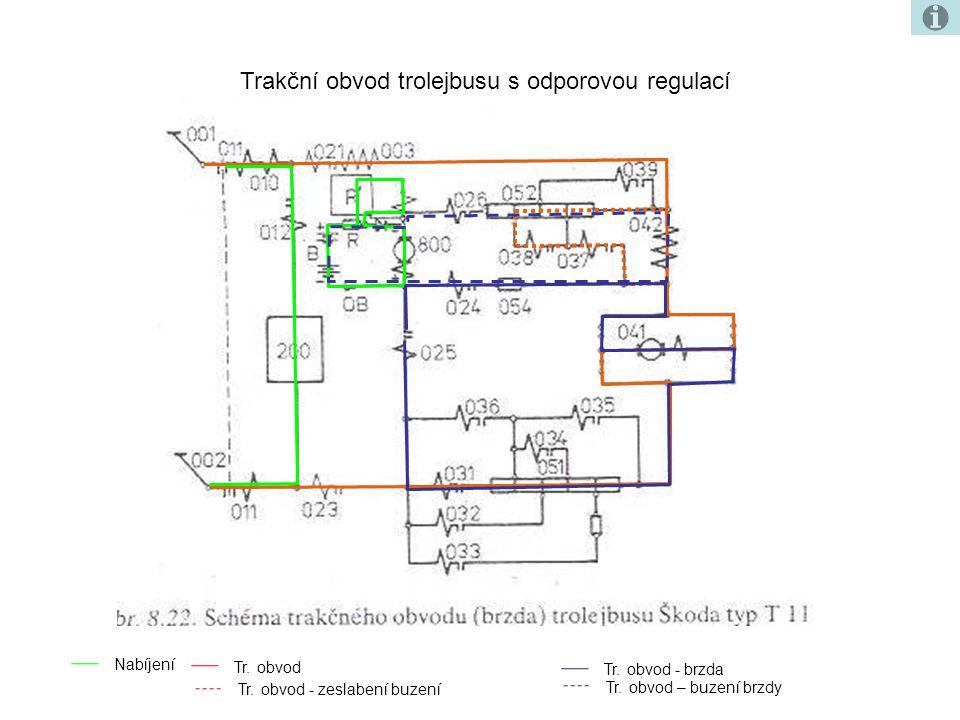 Trakční obvod trolejbusu s odporovou regulací