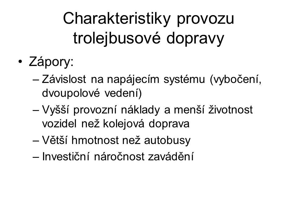 Charakteristiky provozu trolejbusové dopravy